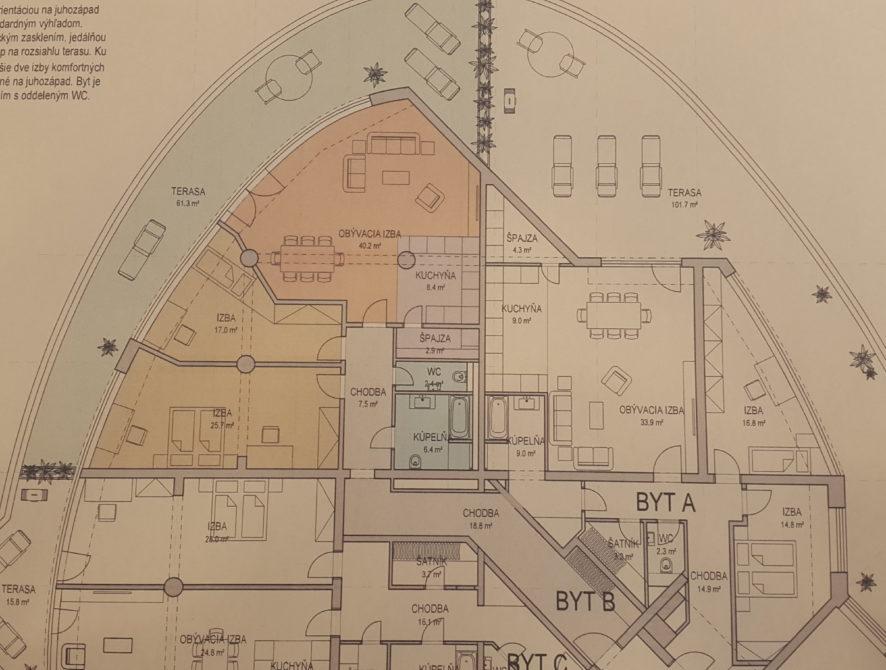 3 izbový byt 130m2